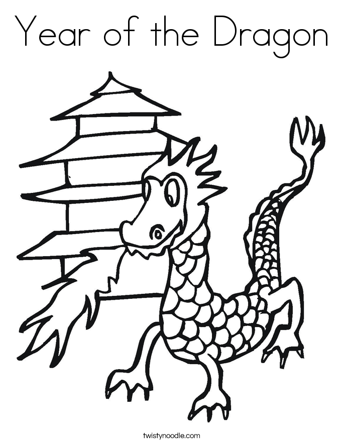 D is for Dragon Coloring Page Twisty Noodle