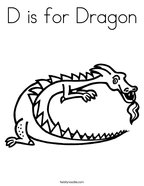D is for Dragon Coloring Page