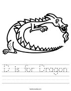D is for Dragon Handwriting Sheet