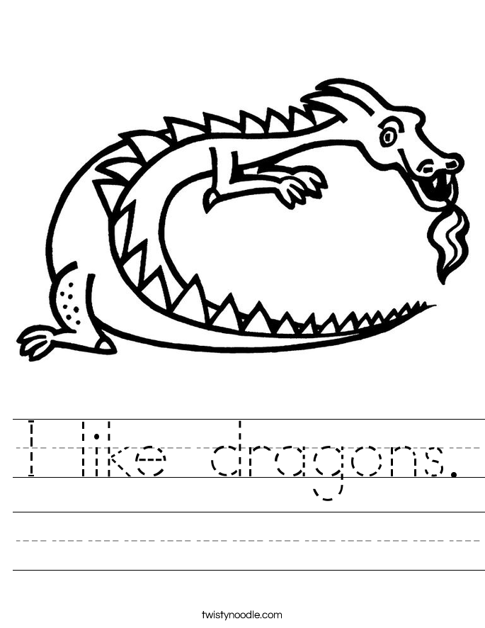 I like dragons. Worksheet