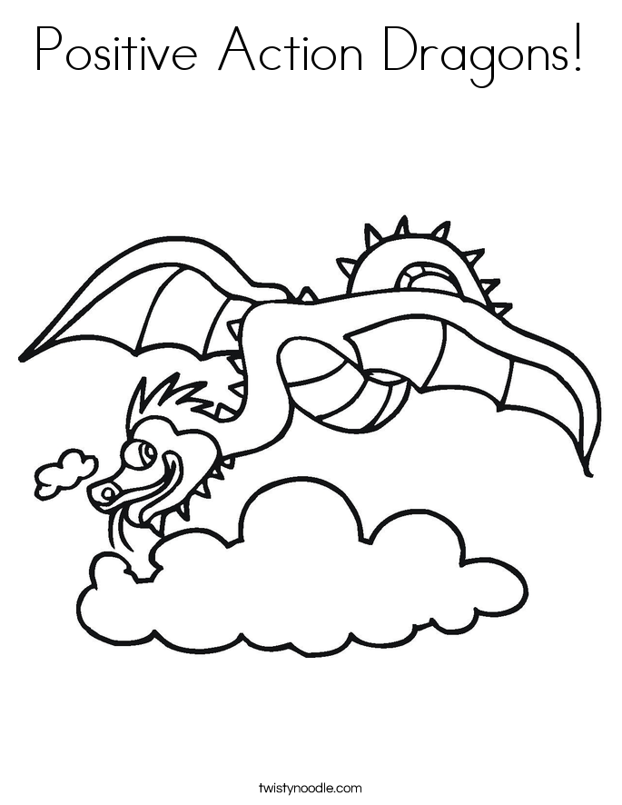 Positive Action Dragons! Coloring Page