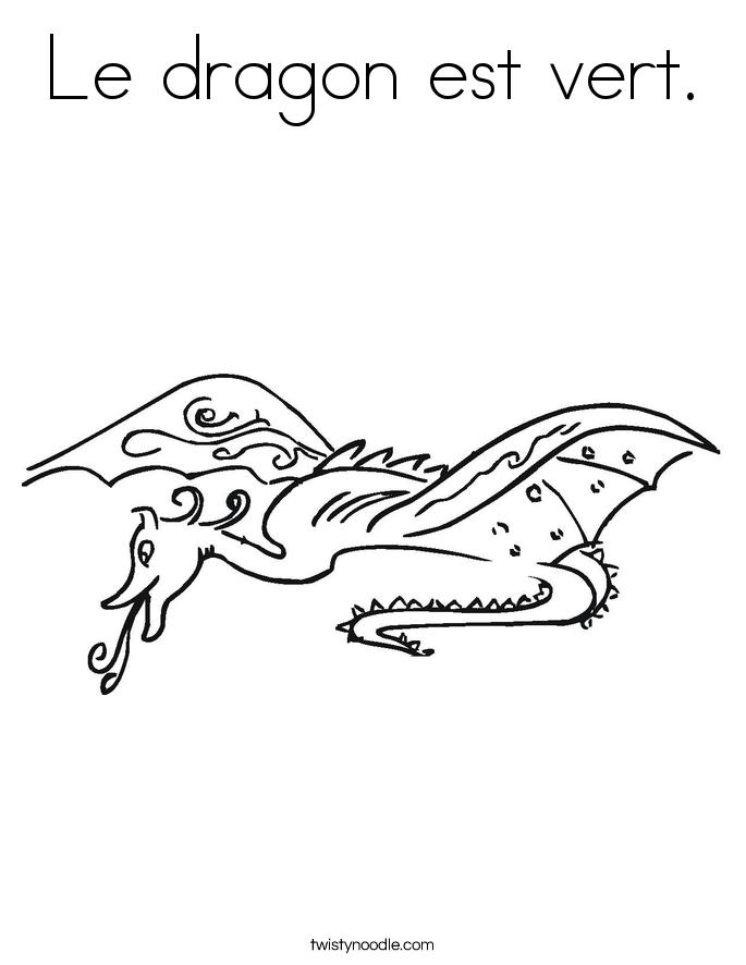 Le dragon est vert. Coloring Page