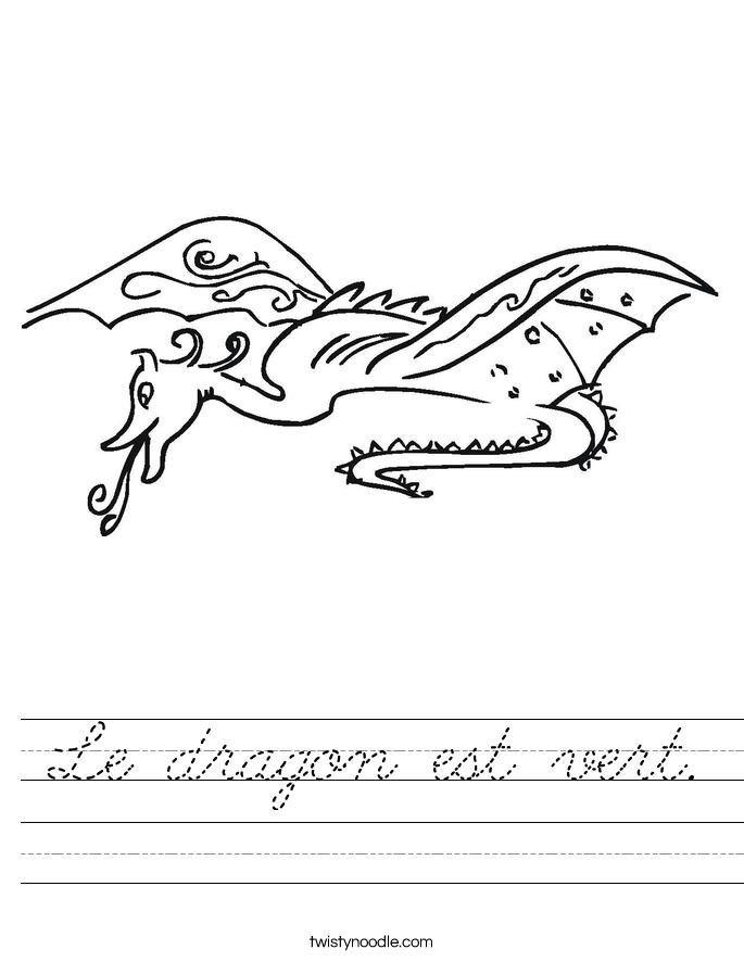 Le dragon est vert. Worksheet
