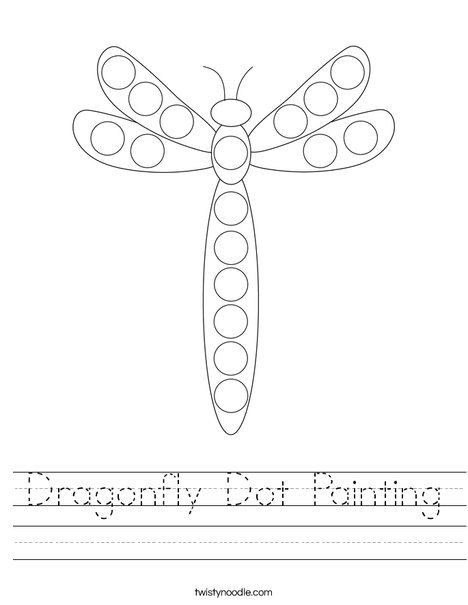 Dragonfly Dot Painting Worksheet