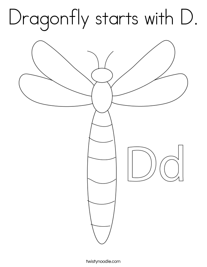 Dragonfly starts with D. Coloring Page
