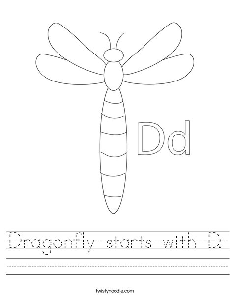 Dragonfly starts with D. Worksheet