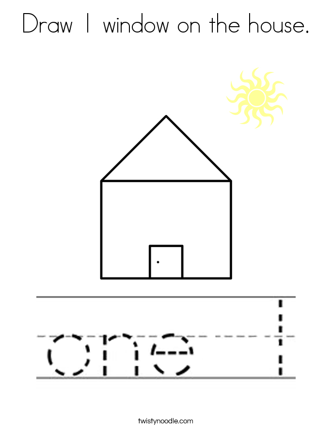 Draw 1 window on the house. Coloring Page