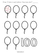 Draw 10 dots in each balloon How many dots _______ Coloring Page
