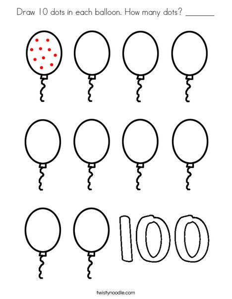 Draw 10 dots in each balloon. Coloring Page