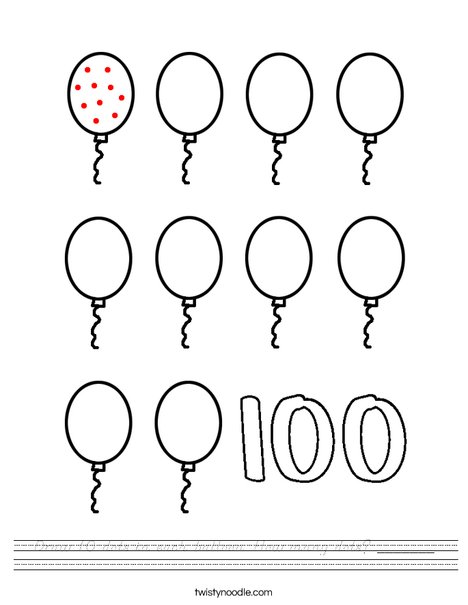 Draw 10 dots in each balloon. Worksheet