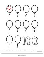 Draw 10 dots in each balloon How many dots _______ Handwriting Sheet