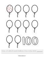 Draw 10 dots in each balloon How many dots _______ Handwriting Sheet