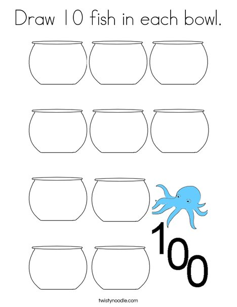 Draw 10 fish in each bowl. Coloring Page