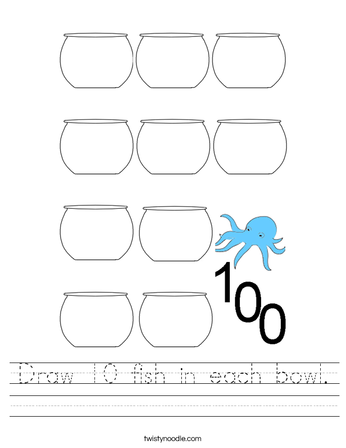 Draw 10 fish in each bowl. Worksheet