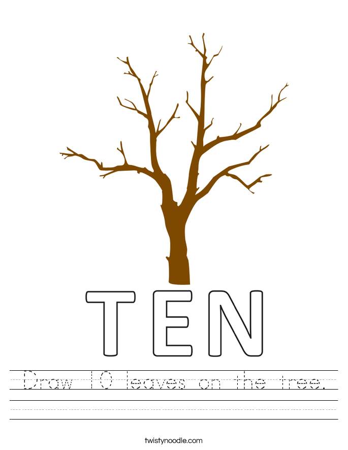Draw 10 leaves on the tree. Worksheet