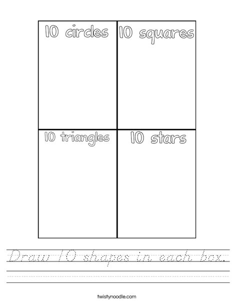 Draw 10 shapes in each box. Worksheet