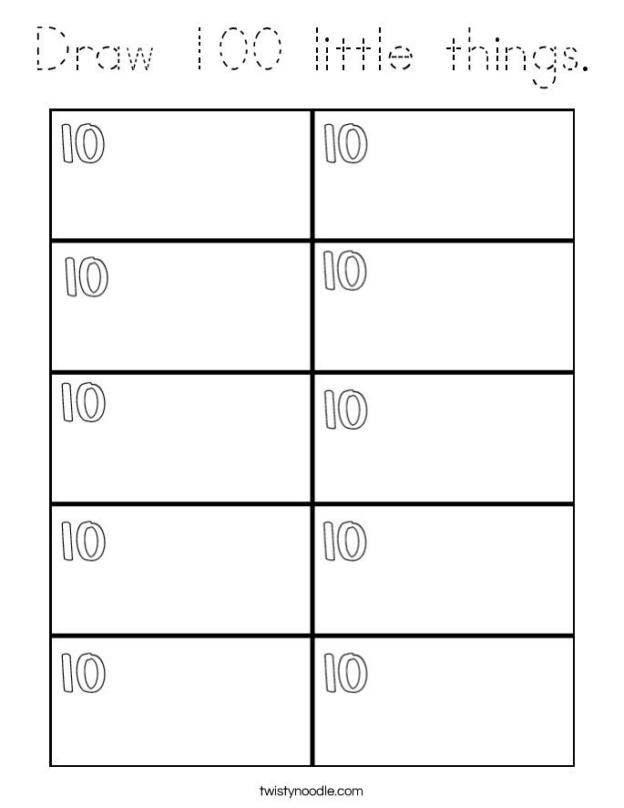 Draw 100 little things. Coloring Page