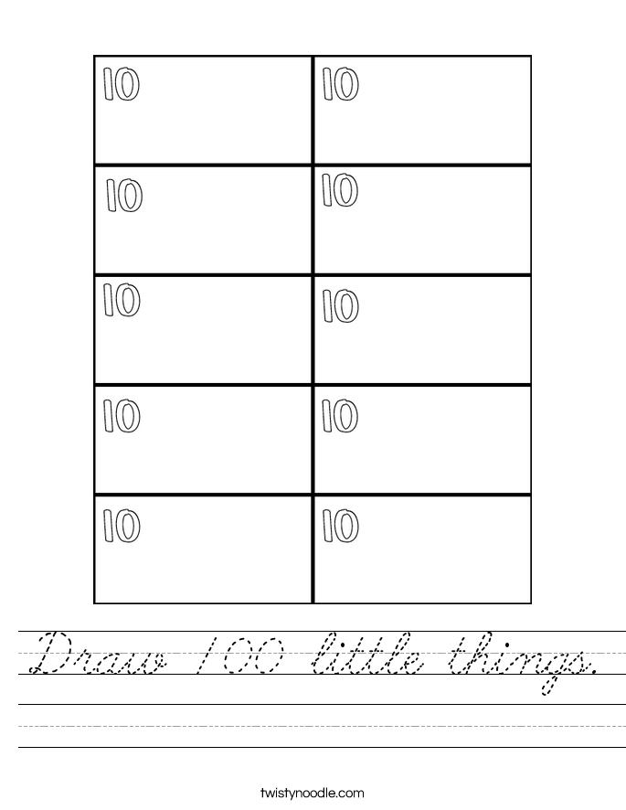 Draw 100 little things. Worksheet