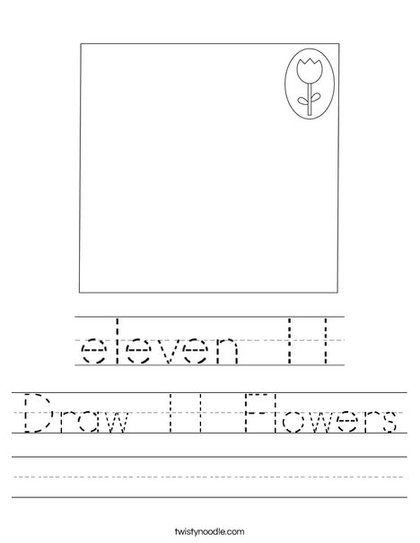 Draw 11 Flowers Worksheet