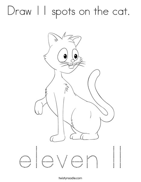Draw 11 spots on the cat. Coloring Page