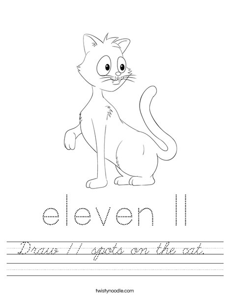 Draw 11 spots on the cat. Worksheet