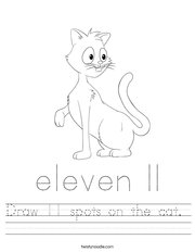Draw 11 spots on the cat  Handwriting Sheet