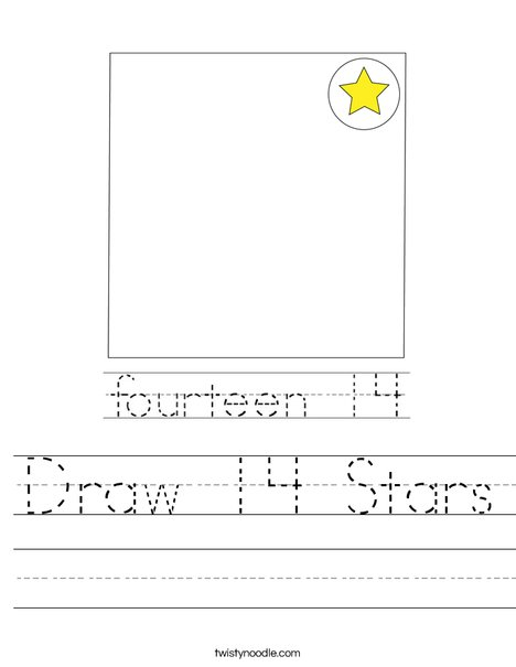 Draw 14 Stars Worksheet
