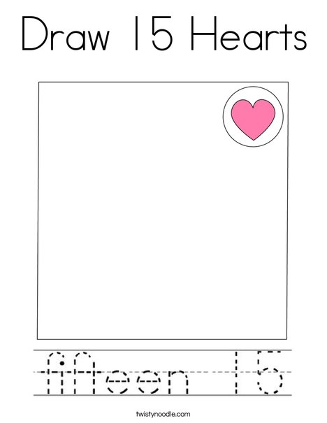 Draw 15 Hearts Coloring Page