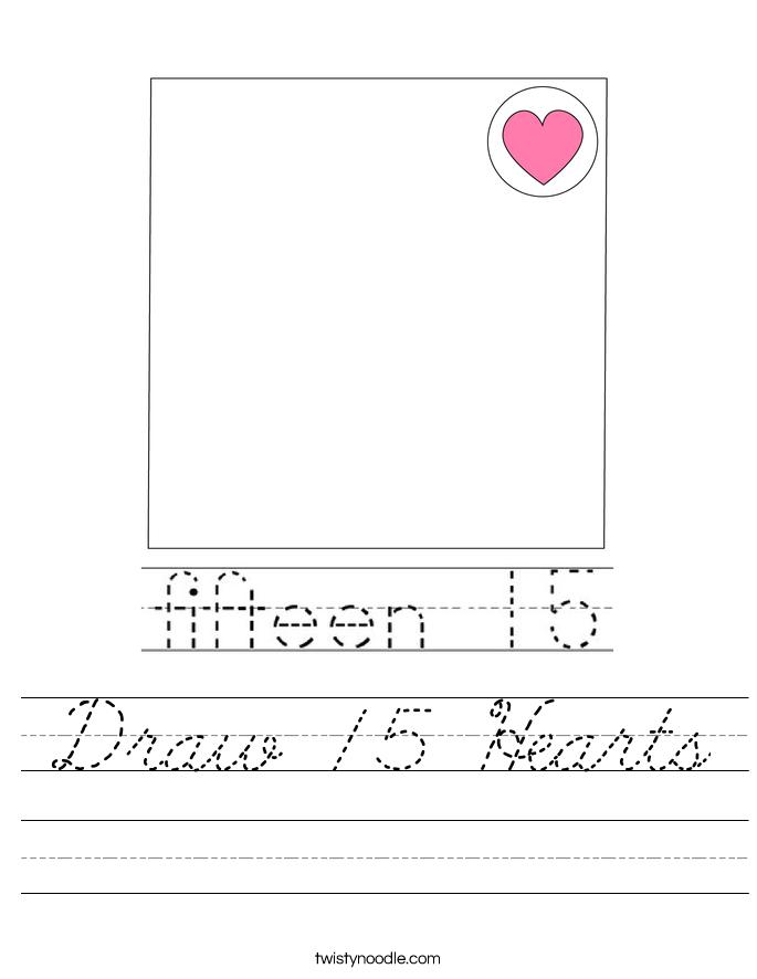 Draw 15 Hearts Worksheet