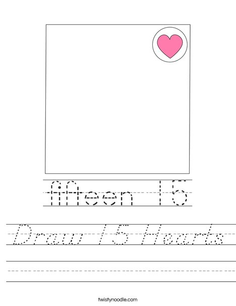Draw 15 Hearts Worksheet