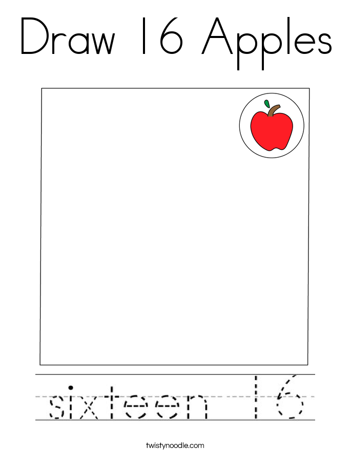 Draw 16 Apples Coloring Page