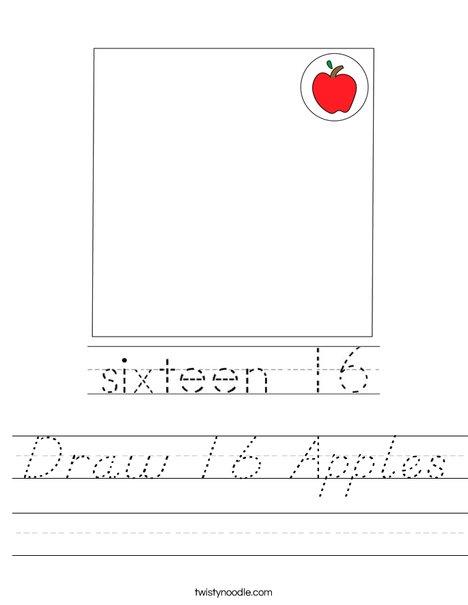 Draw 16 Apples Worksheet