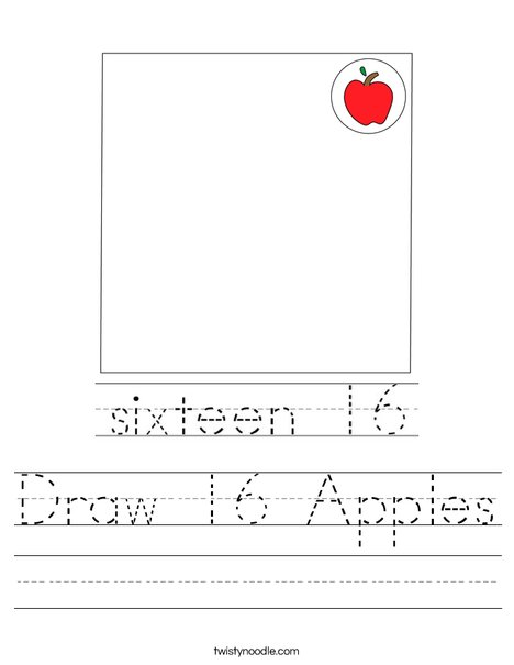 Draw 16 Apples Worksheet