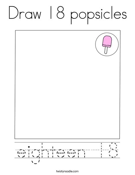 Draw 18 Popsicles Coloring Page