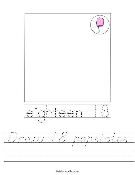 Draw 18 Popsicles Worksheet