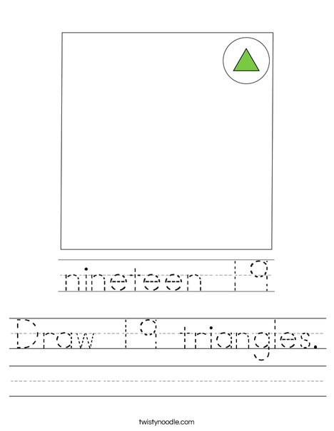 Draw 19 triangles. Worksheet