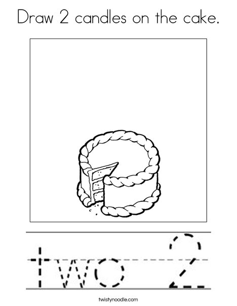 Draw 2 candles on the cake. Coloring Page