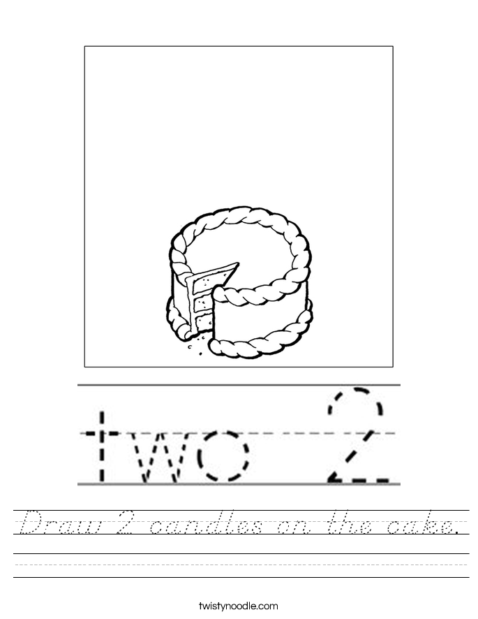 Draw 2 candles on the cake. Worksheet