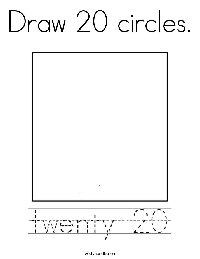 Draw 20 circles. Coloring Page