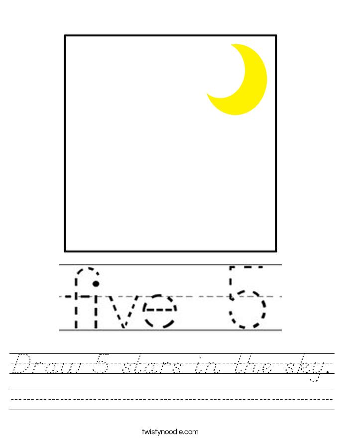 Draw 5 stars in the sky. Worksheet
