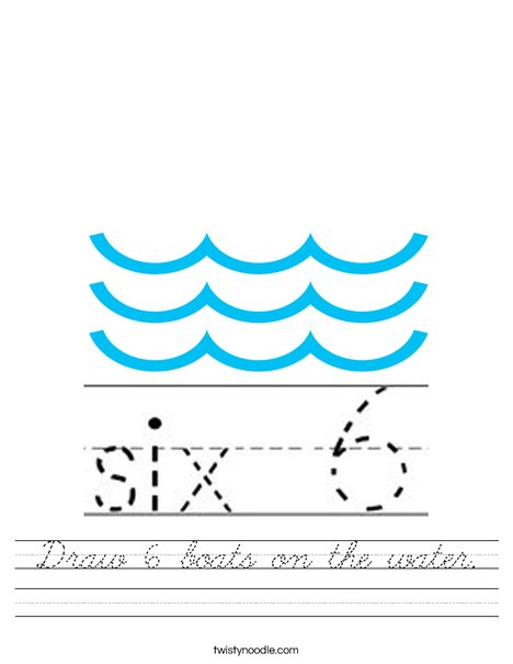Draw 6 boats on the water. Worksheet