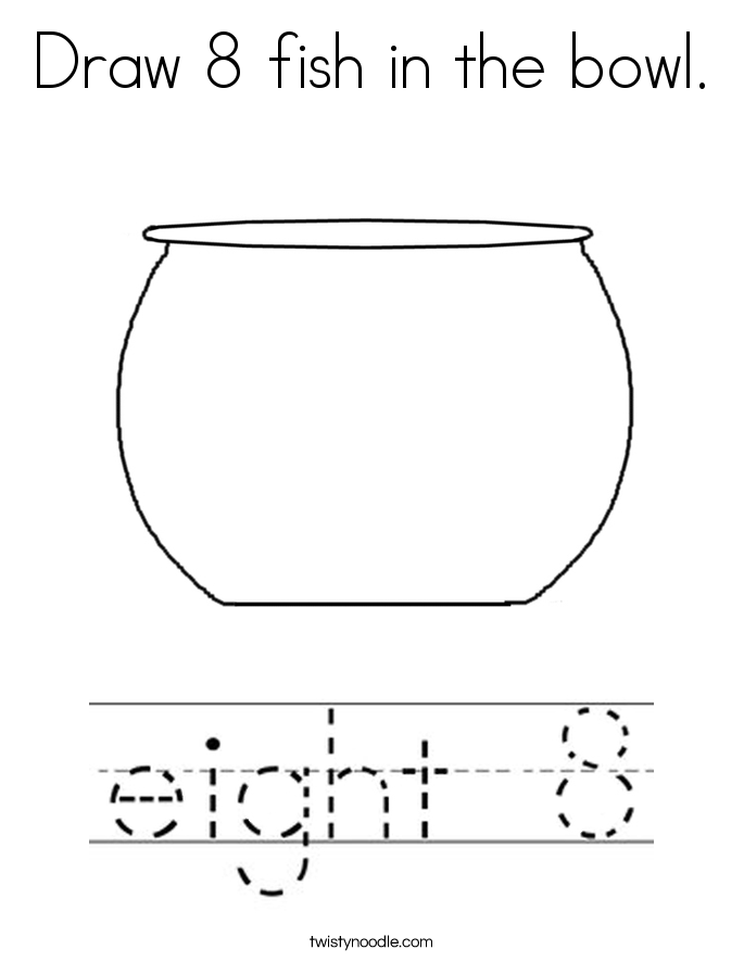 Draw 8 fish in the bowl. Coloring Page
