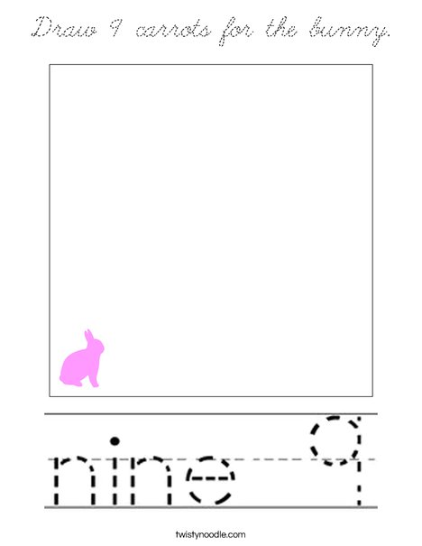Draw 9 carrots for the bunny. Coloring Page