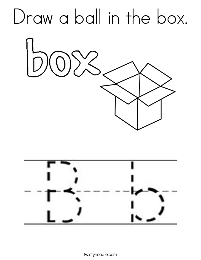 Draw a ball in the box. Coloring Page
