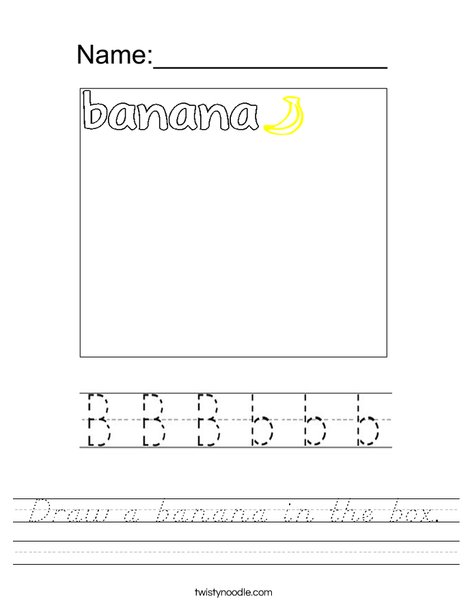 Draw a banana in the box. Worksheet