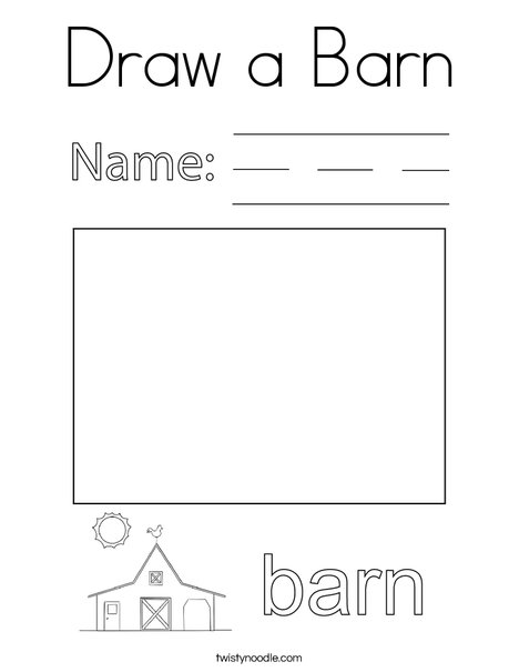Draw a Barn Coloring Page