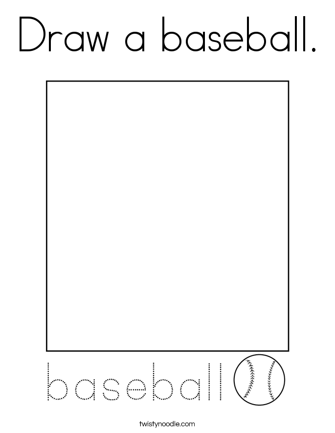 Draw a baseball. Coloring Page