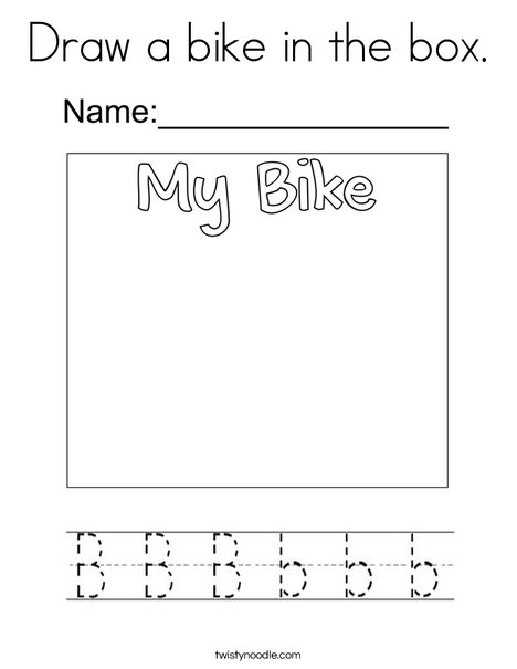 Draw a bike in the box.  Coloring Page