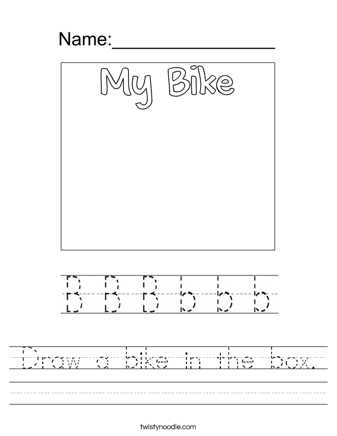 Draw a bike in the box. Worksheet