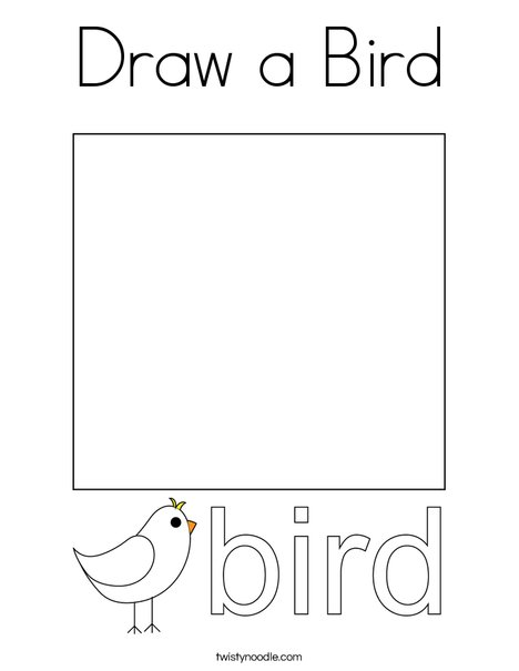 Draw a Bird. Coloring Page